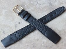 Perforated and stitched leather 18mm open-ended vintage watch band tapered shape