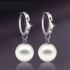 Korean Silver Freshwater Pearl Dangle Hoop Earrings Womens Wedding Jewelry Gift