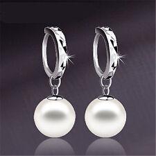 Korean Silver Freshwater Pearl Dangle Hoop Earrings Womens Wedding Jewelry Gift