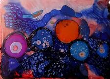 "Original Painting 5x7"" blue bird at night blues orange raspberry by L Kohler"