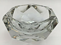 VAL ST LAMBERT Vintage FRENCH Multi Faceted Crystal Glass Ashtray SIGNED