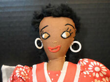 "Vintage African American Black Cloth Estate Collection Half Doll Ooak 15"" Lovely"
