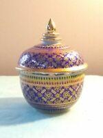 """Vintage Bencharong Porcelain Trinket Jar 4.75""""   from Thailand RARE PATTERN"""