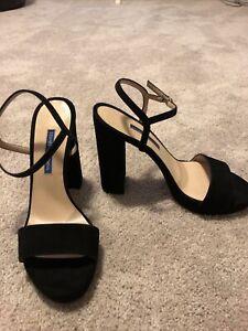 Stuart Weitzman Women's Black Suede Ankle Strap Heels Size 8.5