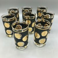 """Mid Century Set of 8 Black Libbey Gold Coin Collection 5"""" Cocktail Glasses"""