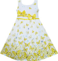 Sunny Fashion Girls Dress Butterfly Yellow Double Bow Tie Summer Beach Age 4-12