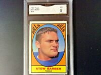 1967 TOPPS STEW BARBER BUFFALO BILLS CARD #18 - GRADED (5) EXCELLENT CERTIFIED