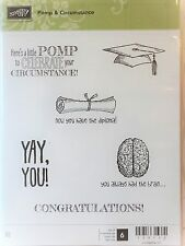 Stampin Up POMP & CIRCUMSTANCE Clear mount stamps graduation hat tassel diploma
