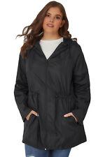 3X US Women Plus Size Pocket Parka Wind Coat Jacket Casual Outwear with Hat