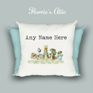 HANDMADE CUSHION ~ BEATRIX POTTER ~ PETER RABBIT ~  PERSONALISED ~ CHRISTENING