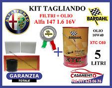 KIT TAGLIANDO OLIO BARDAHL 10W40 5LT + FILTRI ALFA 147 1.6 105 120 CV