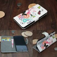 High Quality For Smart Phone Butterfly Flip PU Leather Wallet Stand Case Cover