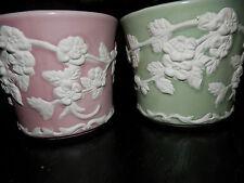 New listing Vintage Napco Green & Pink Vase Planter Baby Nursery Trinket Cup White Flowers