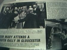 magazine item 1943 original ww2-  queen mary at a youth rally in gloucester 2 pa