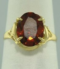 LADIES 10K YELLOW GOLD 3.00ct SOLITAIRE OVAL GARNET RING 11mm FINE JEWELRY