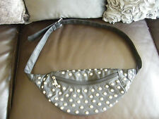 PRIMARK BUM BAG FANNY PACK BLACK FAUX LEATHER SILVER TONE STUDS FESTIVAL HOLIDAY