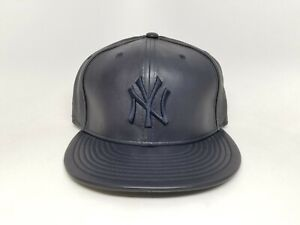 Men's New Era Custom New York Yankees All Leather 5950 Fitted Cap  (Size 7 1/8)