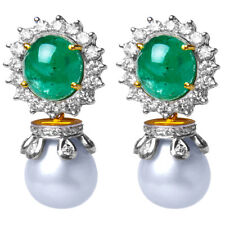 1.28ct Diamond Emerald Pearl 14k Yellow Gold Women's Wedding Earrings
