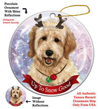 Goldendoodle Dog Christmas Holiday Ornament Up To Snow Good