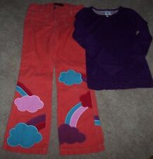 EUC Mini Boden Orange RAINBOW Pants/Purple Top Shirt Set Outfit Lot 10/11 Girls