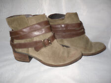 DUO WOMENS  BROWN SLIP ON SUEDE/LEATHER LOW HEEL ANKLE BOOTS SZ:3/36(WB1190)