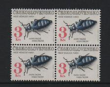 CZECHOSLOVAKIA 1992 (3k. TOP VALUE) BEETLES - BLOCK OF 4 *VF MNH*