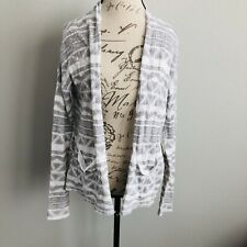 Hollister Cardigan Knit Sweater XS / S Gray White Tribal Open Front Loose Casual