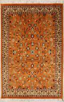 Rugstc 4x6 Senneh Pak Persian Orange  Rug, Hand-Knotted,Floral with Silk/Wool