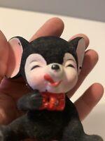 Vintage Black Velvet Mouse Figurine with Large Ears