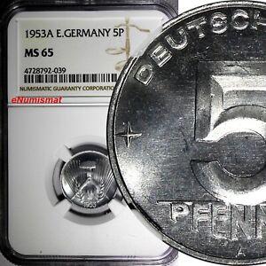Germany - Democratic Republic Aluminum 1953 A 5 Pfennig NGC MS65 KM# 6 (039)