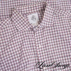 Brooks Brothers Black Fleece USA Made White Red Blue Plaid Buttondown Shirt BB 4