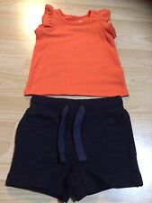 Next Size 3-6 Months Baby Girls Orange Top & Navy Shorts - Brand New With Tags