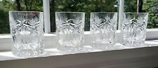 4 Vintage Pineapple Themed Crystal Highball Cocktail Glasses Old Fashioned
