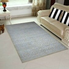 5' x 8' Rug   Hand Made Hand Knotted Wool & Bamboo Silk  Gray Blue Area Rug