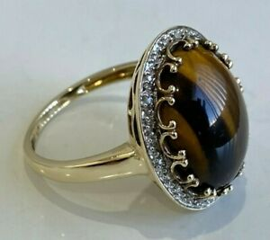 9k solid gold w/ Tiger's eye & Diamond ring 4.72g size S -  9 1/8