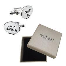 Mens Oval Trust Me Im A Banker Cufflinks & Gift Box By Onyx Art