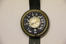 Antique Vintage Made In Italy Rubber Wrist Diving Depth Gauge Diver Compass