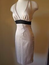 BEBE~Sexy Silk Designer Champagne & Black Fitted T-Back Cocktail Dress~Size-XS