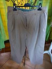 T46  pantalon homme belle  toile coton  beige  PLIS OUVERTS ,AISANCES