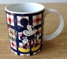 DISNEY MICKEY MOUSE Jerry Leigh True American Classic Coffee Mug Cup Red Gingham