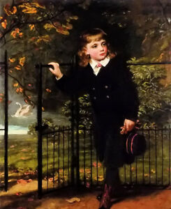 Dream-art hand painted Oil painting James Sant - Young boy in the park landscape