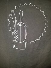Black Tshirt orginial art work peace sign hand printed limited x large