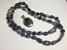 """DRT Jay King Amethyst and Turquoise Necklace Pendant 16""""18"""" Sterling Silver"""