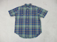 Ralph Lauren Polo Button Up Shirt Adult Large Blue Green Plaid Pony Casual Mens