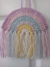 Handmade Crochet Rainbow Wall Hanging In Pastel Colours