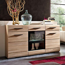 NEW Wide Sideboard Display Cabinet Sonoma Oak with LED Lights Glass Door Drawers