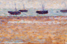 Four Boats at Grandcamp by Georges Seurat 60cm x 40cm Art Paper Print