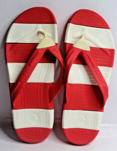 Crocs Men's and Women's Red & White Stripe Flip Flops, Sandals Mens 8 Womens 10