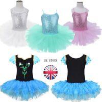 UK Kids Girls Ballet Dance Dress Leotard Tutu Skirt Ballerina Costume Dance Wear