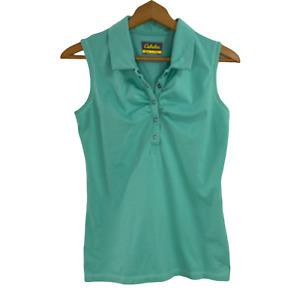 Cabelas Womens Sleeveless PoloShirt Blouse Teal Size S Snap Close Collar